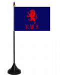 Royal Welsh Fusiliers Desk / Table Flag with plastic stand and base.